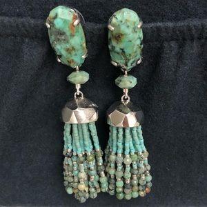 Kendra Scott turquoise beaded tasseled earrings